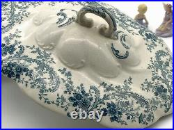 Beautiful Vintage Blue Floral Porcelain Soup Tureen with Lid