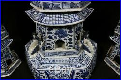 Beautiful chinese blue and white porcelain pagoda
