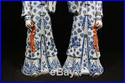 Beautiful chinese blue&white and famille rose porcelain a pair Maids