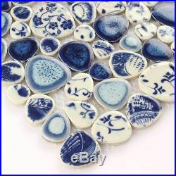 Blue And White Mosaic Pebble Stone Porcelain Mosaic Cobble Tile Bathroom 11 PCS