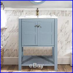 Blue/White 24 Bathroom Sink Vanity Cabinet Storage Undermount Porcelain Sink