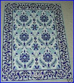 Blue & White 32x24 Turkish Ceramic Iznik Tulip & Carnation Tile Panel Mural