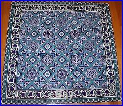 Blue & White 32x32 Turkish Iznik Geometric & Floral Ceramic Tile Mural Panel