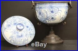 Blue & White Asian Chinese Porcelain Vase with Bronze Base & Lid Home Decor