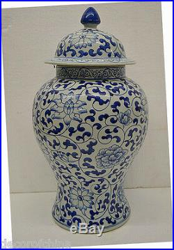 Blue & White Chinese Porcelain Vase Jar withLid Painted Flower Home Decor NOV20-06