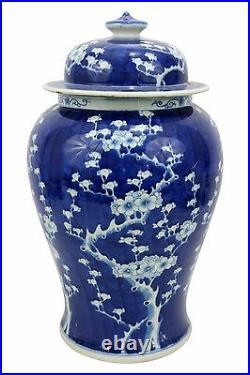 Blue & White Large Porcelain Cherry Blossom Motif Temple Jar Ginger Jar 22 Tall