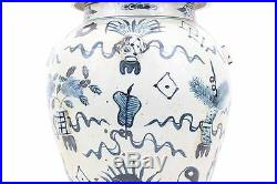 Blue & White Large Porcelain Embossed Treasures Temple Jar Ginger Jar 24 Tall