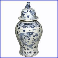 Blue & White Large Porcelain Fish Motif Temple Jar Ginger Jar 24 Foo Dog Top