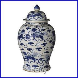 Blue & White Large Porcelain Foo Dog Motif Temple Jar Ginger Jar 21 Tall