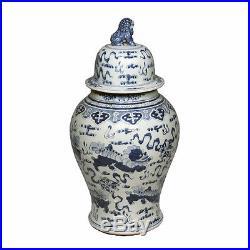 Blue & White Large Porcelain Foo Dog Motif Temple Jar Ginger Jar 24 Foo Dog Top