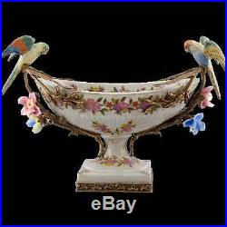 Blue & White Porcelain & Bronze Forget Me Not Figural Bird Compote