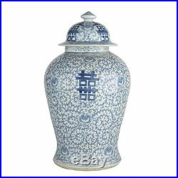 Blue & White Porcelain Double Happiness Chinoiserie Temple Jar 23 Tall