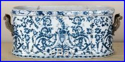 Blue & White Porcelain Planter Oval Basin Bronze Ormolu Azure Casey Pattern 22