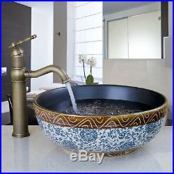 Blue & White Round Ceramic Basin Bowl Sink Lavatory Vanity Mixer Faucet Tap Set