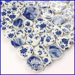 Blue White Tiles Flowers Mosaic Tiles Floral Kithcen Bakcsplash Subway 11 PCS