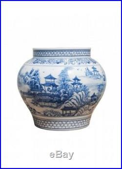 Blue and White Blue Willow Porcelain Flower Vase 8