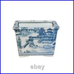 Blue and White Blue Willow Porcelain Rectangular Pot