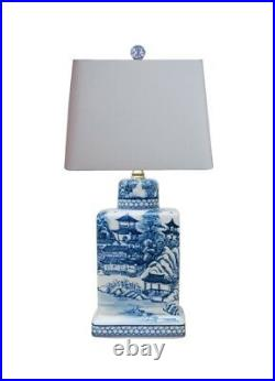 Blue and White Blue Willow Porcelain Tea Caddy Jar Table Lamp 17