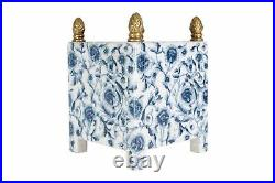 Blue and White Chinoiserie Floral Porcelain Square Pot with Ormolu Accent 10