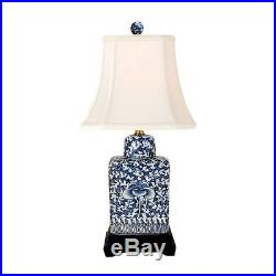 Blue and White Chinoiserie Floral Twisted Lotus Porcelain Jar Table Lamp 15