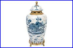 Blue and White Crackle Porcelain Blue Willow Temple Jar 15.5 Ormolu Accents