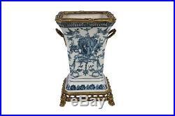 Blue and White Emblem Porcelain Square Vase Brass Ormolu Accent 10