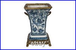 Blue and White Floral Bird Motif Porcelain Square Vase Brass Ormolu Accent 10