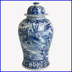 Blue and White Floral Bird Motif Porcelain Temple Jar 19