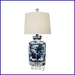 Blue and White Floral Motif Porcelain Ginger Jar Table Lamp 17