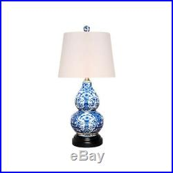 Blue and White Floral Motif Porcelain Vase Table Lamp 16