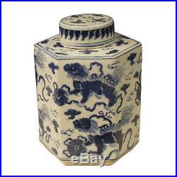 Blue and White Foo Dog Motif Porcelain Tea Caddy Jar 11.5