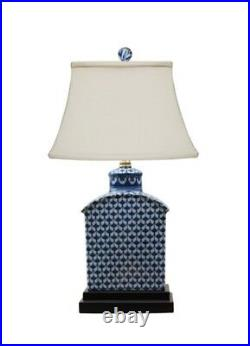 Blue and White Geometric Porcelain Tea Caddy Jar Lamp 17.5