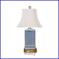 Blue and White Geometric Square Porcelain Vase Table Lamp 15.5