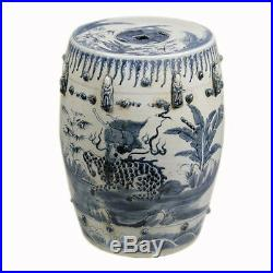 Blue and White Kylin Motif Porcelain Garden Stool 17