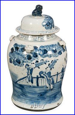 Blue and White Kylin and Boy Motif Porcelain Temple Jar 19
