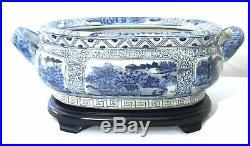 Blue and White Landscape Porcelain Footbath with Base