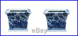 Blue and White Pair of Square Porcelain Pot Bird and Floral Motif 6