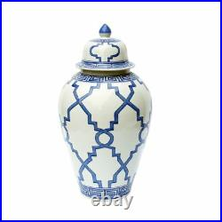 Blue and White Patterned Style Porcelain Temple Jar 23