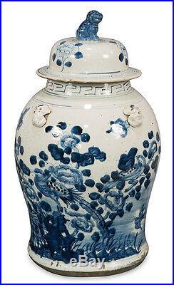 Blue and White Porcelain Bird Motif Temple Jar 19