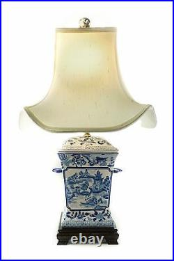 Blue and White Porcelain Blue Willow Square Incense Burner Jar Table Lamp 25