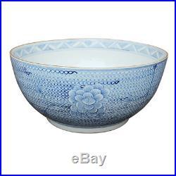 Blue and White Porcelain Chain Lotus Flower Large Bowl 16 Diameter