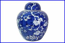 Blue and White Porcelain Cherry Blossom Ginger Jar 11