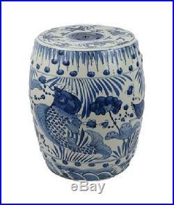 Blue and White Porcelain Fish Motif Garden Stool 19