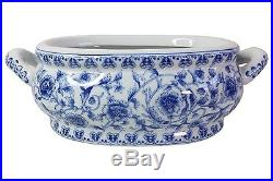Blue and White Porcelain Floral Chinoiserie Foot Bath 16 Handle to Handle