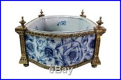 Blue and White Porcelain Floral Chinoiserie Rectangular Basin Ormolu Accents