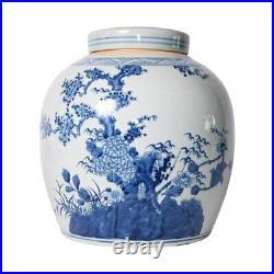 Blue and White Porcelain Floral Tree Motif Ginger Jar 13