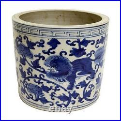 Blue and White Porcelain Foo Dog Motif Flower Pot 8