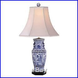 Blue and White Porcelain Hexagonal Landscape Vase Table Lamp 32