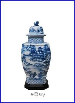 Blue and White Porcelain Landscape Blue Willow Hexagonal Temple Jar 14