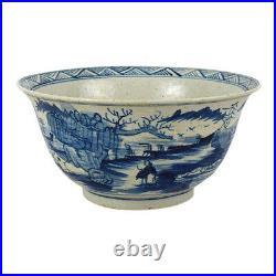 Blue and White Porcelain Landscape Motif Bowl 12.5 Diameter